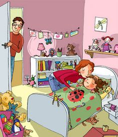 quenalbertini: Mom kissing at bedtime by Claire Delvaux illustration Kids English, English Lessons, Teaching Kindergarten, Teaching Kids, Cute Powerpoint Templates, Art Drawings For Kids, Art For Kids, English Creative Writing, Picture Comprehension