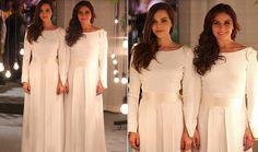 No casamento de Clara (Giovanna Antonelli) e Marina (Tainá Müller) ambas usaram o mesmo modelo, um vestido elegante criado pelo estilista Guto Carvalho Neto