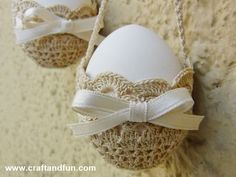 Creative Recyklace - Craft a zábava: Košíky háčkování vejce na Velikonoce