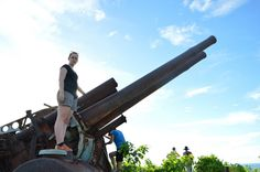 Nicola on the Japanese anti-aircraft guns - Nauru.