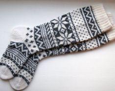 Back to school Scandinavian pattern rustic autumn fall winter knit knee-high grey white wool socks CUSTOM MADE Wool Socks, Knitting Socks, Hand Knitting, Socks Men, Long White Socks, Knit Crochet, Crochet Cross, Scandinavian Pattern, Holiday Socks