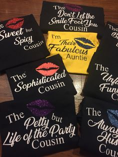 Adult Auntie Cousin Matching T Shirts Women Tee Glitter Family Reunion Ladies Night Out Bachelorette Party