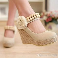 Wholesale Flowers Beaded Straps - Buy 2014 Spring And Autumn Sweet Lolita Flowers Beaded Straps Woven Wedges Shoes Item: 96195, $28.28 | DHgate.com