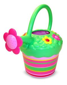 Blossom Bright Watering Can : This colorful, sturdy, child-size watering can will encourage your young gardener to tend the garden daily. Just add water and watch your child and garden blossom and grow!