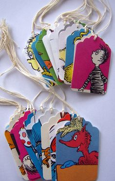 Punch tags from pages of children's books...these Dr. Seuss tags are ADORABLE