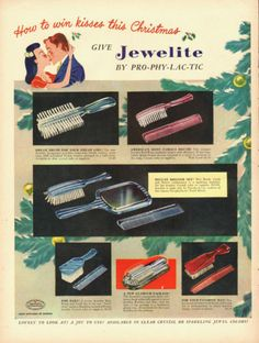 1947 vintage AD, Pro-Phy-Lac-Tic 'Jewelite' Hair Brush, Combs, Christmas -111413 in Collectibles, Advertising, Health & Beauty | eBay