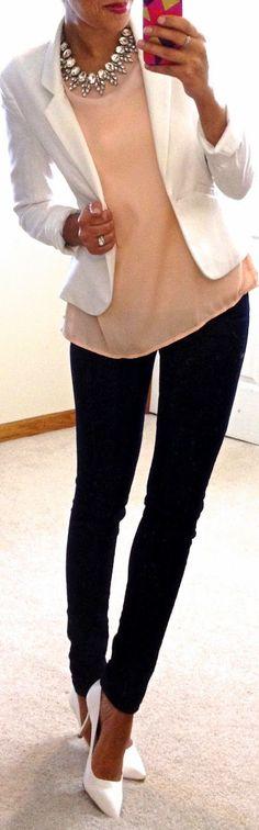 Workwear   Peach blouse, white blazer and statement necklace