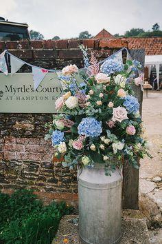 Wedding Pink Blue Rose Hydrangea Flowers Urn Jug http://www.naomincubephotography.com/