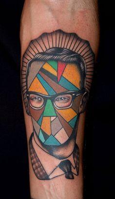 tattoo face vintage lines