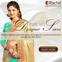 Give a stunning fawn shed to your style with our pure net designer saree In fawn colour.  Buy it at ---> http://www.rachitfashion.com/  #stunning #style #fashion #womenswear #fawncolor