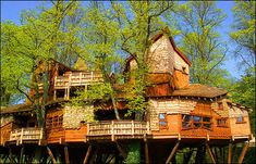 Idk where this is at, but what a legit treehouse...