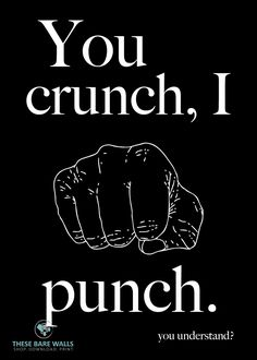 You Crunch, I Punch Printable Wall Art - These Bare Walls | Funny Prints | Office Humor | Office Prints | Misophonia | Misophonia Quotes | Misophonia Art | Hand pound | I Punch print