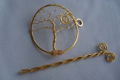Hair PinShawl Pin Barrette Tree of Life Wire Wrapped by gulickkr, $30.00