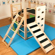 The solid wood indoor climbing frame is great fun, even when its raining! The nursery indoor climbing frame is just what you need to aid improved balance, coordination and developing gross motor skills. Safety mats must be used with this item. Toddler Jungle Gym, Indoor Jungle Gym, Indoor Gym, Toddler Indoor Playground, Indoor Toddler Gym, Kids Indoor Play, Indoor Slides, Toddler Bed, Outdoor Play