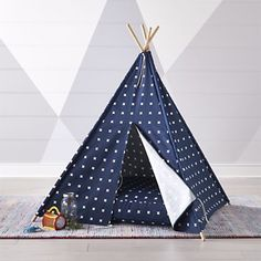 Our Cross Print Navy Blue Teepee keeps it clean and classic. Designed just for us by Ampersand Design Studio, it's topped with a simply stylish print that's sure to match the décor in almost any playroom or kids room. Crate And Barrel, Teepee Play Tent, Teepees, Playroom Design, Playroom Ideas, Ikea Playroom, Baby Playroom, Creative Kids, Play Houses