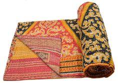Vintage Heavy Kantha Quilt Gudri Reversible by BanjaraTribalArt