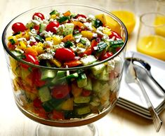 In large salad bowl, toss together tomatoes, cucumber, peppers, red onion… Salad Dressing Container, Healthy Snacks, Healthy Recipes, Easy Recipes, Watermelon Fruit, Large Salad Bowl, Greek Salad, Greek Recipes, Meals For One