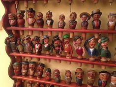Fatto a Mano owner Massimo has an extensive collection of vintage carved wood bottle stoppers that were made by the ANRI workshop in the South Tyrol region of Italy. Cork Stoppers, Bottle Stoppers, Carved Wood, Hand Carved, Tapas, Wine Bottle Corks, South Tyrol, Displaying Collections, Wood Carvings