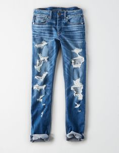 Shop American Eagle for Tomgirl Jeans that look as good as they feel. Browse this low rise, relaxed style in different washes and stretch levels to find your favorite. Ripped Jeans Look, Mens Clothing Styles, Women's Clothing, Running Clothing, Mens Fashion, Fashion Outfits, Fashion 2020, Fashion Tips, Mens Outfitters