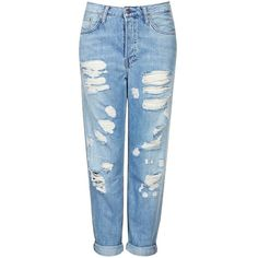 Women's Topshop Moto Destroyed Boyfriend Jeans (€35) ❤ liked on Polyvore featuring jeans, pants, bottoms, pantalones, blue denim jeans, tapered jeans, destroyed boyfriend jeans, light wash boyfriend jeans and boyfriend jeans