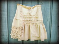 Tea Stained Vintage Lace Linens Skirt//Small Medium by emmevielle, $63.00