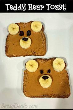 Teddy bear toast with peanut butter, bananas, and raisins.