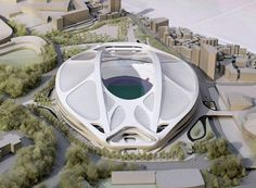 A model of the National Stadium for 2020 Tokyo Olympics.