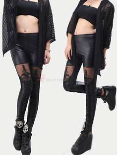 Vogue Sexy Laced Patchwork Pure Color Leather Legging