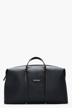 DSQUARED2 Black Patent Grained Structured Dante Duffle Bag