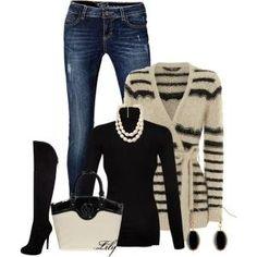 Black and Cream Cardi :)  and the bag by aisha