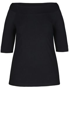 City Chic - BLACK BARDOT TOP - Women's Plus Size Fashion - City Chic Your Leading Plus Size Fashion Destination #citychic #citychiconline #newarrivals #plussize #plusfashion