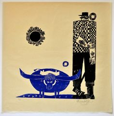 Image of Ed Emberley Woodblock Print, Babe the Blue Ox and Paul Bunyan, Unframed