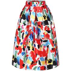 Florals Flare Multicolor Skirt ($22) ❤ liked on Polyvore featuring skirts, multicolor, floral print skirt, multi colored skirt, knee length skirts, floral skirt and flared floral skirt