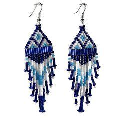 Two Tone Blue White Beaded Earrings - Seed Bugle Bead Earrings - Dangle Earrings - Bridesmaid Gift Earrings - Classic Beaded Fringe Earrings by SpiritWolfArtistry on Etsy