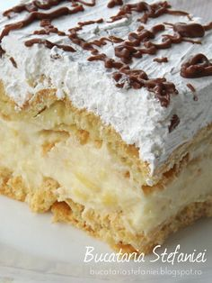 Romanian Desserts, Romanian Food, Cake Recipes, Dessert Recipes, Homemade Cakes, No Bake Cake, Just Desserts, Vanilla Cake, Sweet Treats