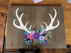 54 Ideas For Flowers Painting Acrylic Canvases Inspiration Skull Painting, Diy Painting, Painting On Wood, Painting Flowers, Flower Paintings, Antler Drawing, Deer Drawing, Antler Crafts, Antler Art