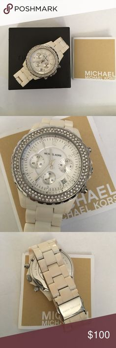 Michael Kors Madison Watch Case Size: 42 mm Case Thickness: 13 mm Band Width: 20 mm Water Resistant. No scratches on glass or missing stones, slight discoloration inside the band that is not seen when worn. Box, booklet and extra attachment pieces included! Watch needs new batteries. No trades Michael Kors Accessories Watches