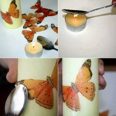 tecnica: decupage sobre velones Diy Candles Design, Candle Art, Photo Candles, Homemade Candles, Christmas Candles, Artisanal, Decoupage Vintage, Candle Making, Design Crafts