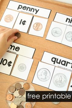 Teaching Money-Free printable coin identification activities. #freebie #coins #kindergarten