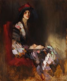 Anthony Ambrose Alciati - Portrait of an elegant lady with colorful scarf