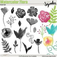 Watercolor Flora photoshop brush set