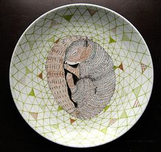 Sleeping Squirrel  Woodland Geometric Design Decorative Plate hand illustrated porcelain. €65.00, via Etsy.
