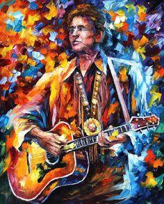 Johnny Cash PALETTE KNIFE Figure Of Musicians by AfremovArtStudio