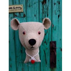 Fake  taxidermy , shabby chic. Large Teddy Bear  trophy head.  Fabric animal head.