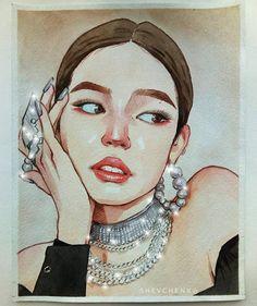 Dancing Drawings, Kpop Drawings, Art Drawings, Social Media Art, Blood Art, Watercolor Girl, Guache, Korean Art, Hippie Art