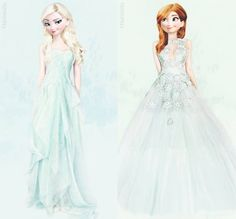 Elsa and Anna! This is so beautiful!! I love these dresses!!!