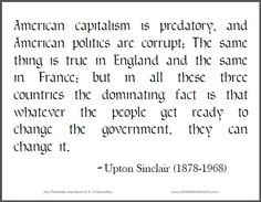 Upton Sinclair Quote on American Capitalism   Student Handouts