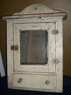Antique Primitive Medicine Cabinet Hanging Spice Cupboard Country Farm  House VTG