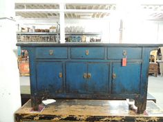 Antique Chinese Storage Credenza in Distressed Blue Los Angeles by ModernRedLA, $2200.00 SOLD!!!