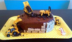 """On The Train with Sophie  The cake I ended up making! Used cookies and cream chocolate for the """"bricks"""""""